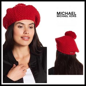 MICHAEL MICHAEL KORS LUXE RED POM POM BERET